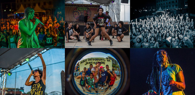 Apresentações de edições anteriores do Festival Periferia Preta, com artistas e apresentações culturais.