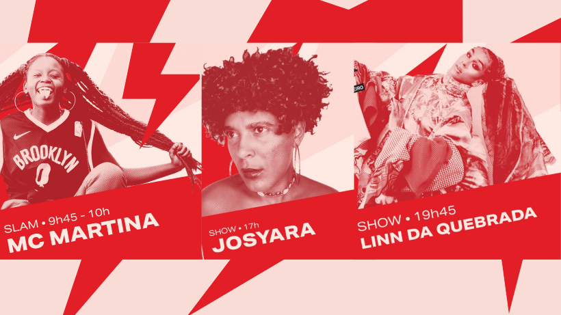 Imagem com MC Martina, Josyara e Linn da Quebrada, artistas que fazem parte da programação Festival WOW 2020